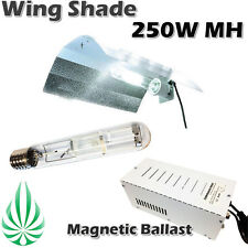 250W MH Lamp Magnetic Ballast With Aluminum Bat Wing Shade Hydroponic Grow Light