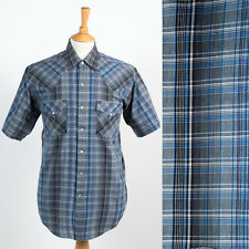 VINTAGE ELY Plains Western Camicia snap serrare cowboy rodeo ranch PLAID Check XL
