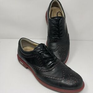 Ecco Black & Red Leather HydroMax Spikeless Golf Shoes Oxfords Mens 10 EU 43