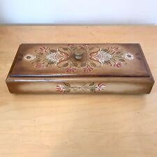 Vintage Toleware Rosemaling Wood Box Hand Painted Signed Folk Art  Pink White