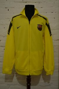 BARCELONA FOOTBALL TRAINING SOCCER JACKET TRACK SUIT NIKE MENS XL YELLOW