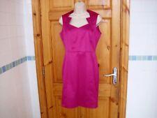 Ladies fuchsia coloured flattering dress size 8UK Dunnes Ireland neck detail vgc