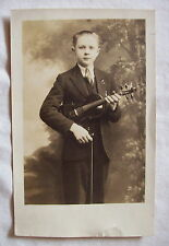 RPPC young man with violin antique real photo postcard musical instrument