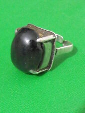 Vintage silver sterling 925 ring Israel 1950th 7 black onyx color stone