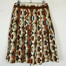 Cue Womens Brown/Blue Linen Flare Skirt with Side Zipper Size 6 W28