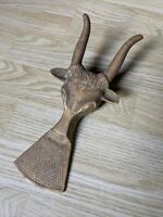 Vintage Solid Brass Longhorn Steer Bull Door Stop Boot Jack Remover Boots Shoes