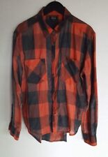 NOLLIE WOMEN'S LONG SLEEVE BUTTON UP BUFFALO CHECK FLANNEL TOP RED GREY LARGE L