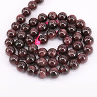"""16""""Strand Charming Natural Gem Loose Garnet Spacer Beads Jewelry Finding 4-10mm"""