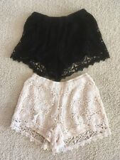 2 Pairs of New Look Lined Crochet Style Shorts Size 8 Black and Cream