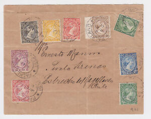 Falkland Islands. 1902. 1/2d to 1/- on cover to Chile.