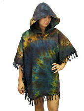 Peasant Boho Tie Dye Cotton Hooded Poncho/Sweater/Top with Fringe  T0273A