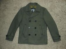 Diesel W-Sami Double Breasted Wool Peacoat / Jacket in Olive Green Size Large