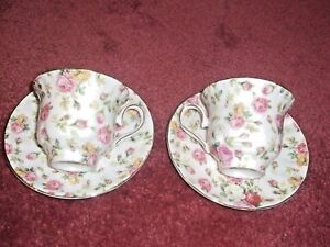 Grace's Teaware Set for 2: Cup & Saucer gift box Floral Chintz Pink Roses new