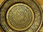 ASIAN INDIAN ANTIQUE HAND MADE HAND INGRAVING BRASS PLATE TRAY
