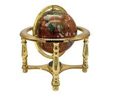 "10"" Tall Table Top Amber Pearl Swirl Ocean Gemstone World Globe 4 Leg Stand"