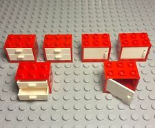 Lego New Red Cupboard Container X6 With Drawers / Doors Kitchen / Garage Cabinet