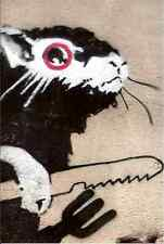 Banksy Rat With Knife Fork A3 Sign Aluminium Metal Large