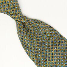 Brioni Silk Necktie Blue Yellow Diamond Check Swirl Print Made in Italy