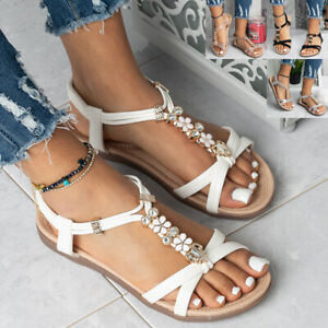 Ladies Comfy Peep Toes Sandals Womens Elastic Strappy Summer Bling Shoes Sizes