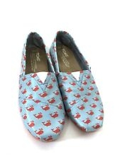 Toms Youth Shoes Size 3.5 Turquoise Orange Whales Slip On kids