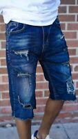 Mens Dark Blue Denim skinny Shorts sz. 30,32,34,36 40