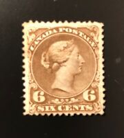 Stamps Canada SC27  6 cents dark brown Large Queen of 1868, see details.