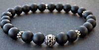 Spiritual Beads Men's Bracelet  Matte Black Onyx Gemstones Silver Bali Bead SALE