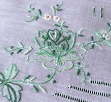 Hand embroidered HANDKERCHIEF vintage batiste Unused GREEN floral -something old