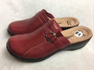 Clarks Collection Womens 8.5 M / N Mules Soft Cushion Red Leather Slim Fit Clogs