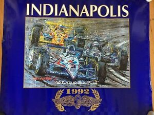 Indianapolis Indy 500 - 1992 Ron Burton Poster RACE TO CLOSEST FINISH