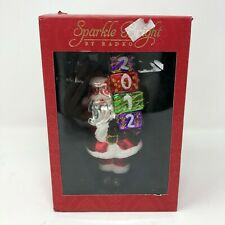Christopher Radko Sparkle Bright Santa Ornament 2012 Glass Red Glitter in Box