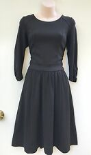 VERONIKA MAINE Black Ponti 3/4 Sleeve Gather Skirt Stretch Dress sz 8