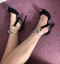Siguiente Negro Peep Toe Tacones Altos Con Encaje 6.5 7 Zapatos Serpiente Animal Print Sandalias De Tobillo