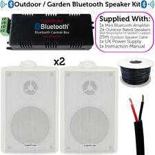 Garden Party/BBQ Outdoor Speaker Kit–Wireless Mini Stereo Amp & 2 White Speakers