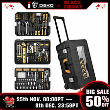 DEKO 258 Piece Tool Kit  Socket Wrench Hand Tool Set with Rolling Tool Box