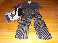 Size Medium 8-10 Gangeter Halloween Costume Black White Striped Pants Jacket EUC