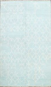 Geometric Modern Oriental Area Rug Hand-knotted Wool Contemporary 6'x8' Carpet