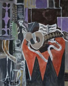 Fine unique Cubist still life gouache painting, signed, Picasso Braque era