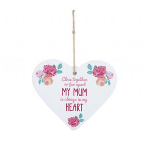 I LOVE MUM HANGING PRINTED HEART PLAQUE MOTHERS DAY GIFT FAR APART POEM PM734030