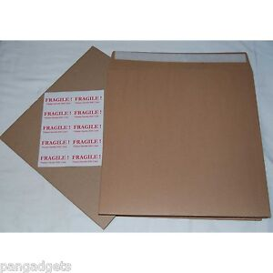 """12"""" 7"""" Record Brown Mailers 12"""" Stiffeners + Free Fragile Labels Free P&P UK"""
