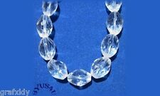 """GLASS BEADS OVAL FACETED 10x7mm CRYSTAL CLEAR 14"""" STRAND SALE"""