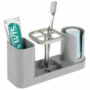 mDesign Plastic Bathroom Countertop Toothbrush Storage Organizer Stand