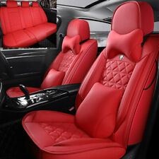 Deluxe Seat Covers Car 5-Sit Front Rear Leather Auto Cushion Universal Interior
