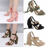 Womens Open Toe Shoes Ankle Strappy Sandals Casual Lace Up Shoes High Block Heel