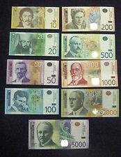 All Serbia Lot 9 banknotes 10 20 50 100 200 500 1000 2000 5000 dinars