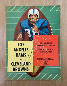 VINTAGE 1958 NFL CLEVELAND BROWNS @ LOS ANGELES RAMS FOOTBALL PROGRAM - SEPT 28