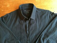 French Connection Men's Button-up Long Sleeve Shirt Size Large Black Stripes B16