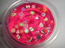 Slime 2oz Clear Pink Fruit Salad slime fimo slice crystal clear putty thinking