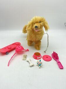 1997 BARBIE DOLL PET PLUSH FUR Ginger bowl skateboard Helmet dog toys set