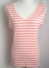 Beaded Lace Tank NWT $10 Size L Striped Pink Sleeveless by Basic Editions